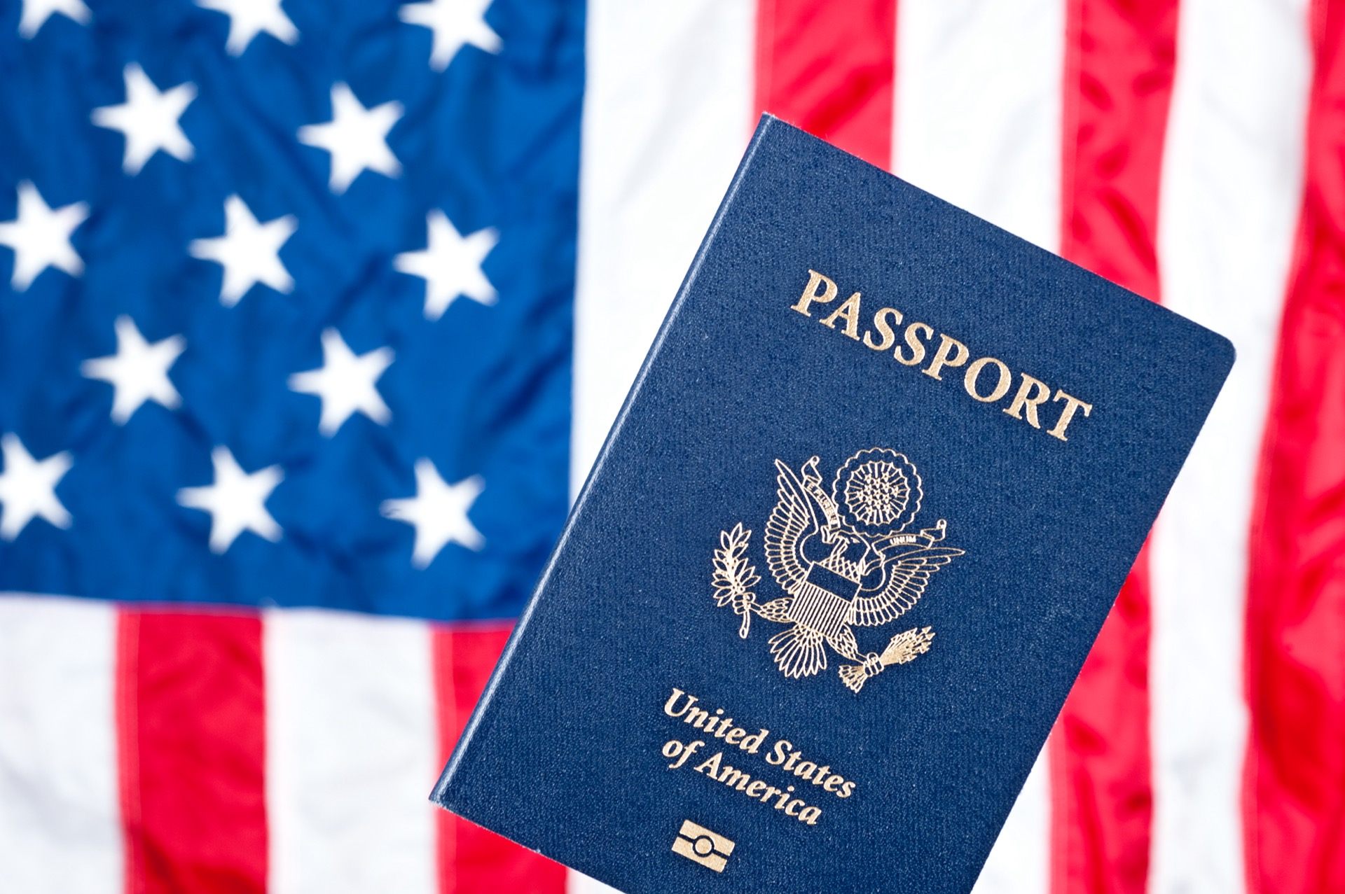 American flag and passport - evisa to russia